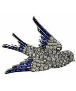 Victorian 1.72ct Rose Cut Diamond Blue Sapphire Ruby Flying Bird Wedding... - $585.54