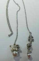 Vintage Silver-tone Faux Pearl Squirrel, Acorn, Leaf Open End Necklace - $18.80
