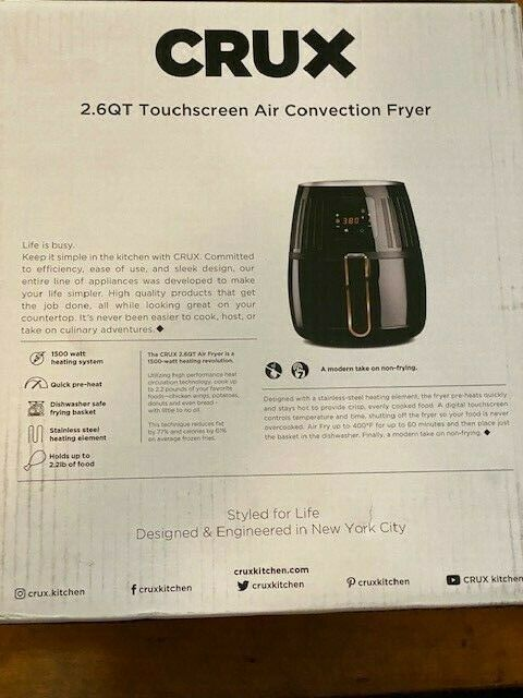 CRUX - 2.6-qt. Touchscreen Air Convection Fryer - Black- Brand New