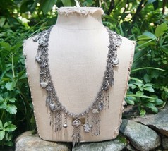 Art Deco Chinese Export Silver Long Necklace Belt French Market 27 Charms - $799.99