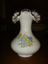 Fenton Vase Milk Glass Butterflies On Silver Crest Hand Painted - $23.99