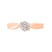 925 Sterling Silver Flower Cluster Women's Beauty Birth Ring 14K Rose Go... - $32.99