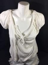Gap Women White Blouse Size M Soild Color Short Sleeve Made In Vietnam Bin75#42 - $14.03