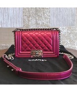 100% AUTHENTIC CHANEL CORAL VELVET QUILTED LAMBSKIN SMALL BOY FLAP BAG SHW - $3,399.99