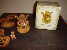 Longaberger Boyds Bears Trinket Box Fall Pumpkin Basket Hinged Box - $53.99