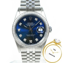 Rolex Datejust 16200 Blue Sunburst Diamond Dial & VVS Diamond Bezel Jubilee - $5,699.00