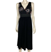 Womens Lapis Medium Black Sleeveless Long Fit Dress Embroidered Flowers ... - $19.79
