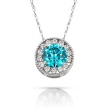 1.90Ct White Sapphire & Topaz Round Halo Charm Pendant 14K W Gold w/ Chain - $60.27+