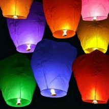 40 Chinese Sky Fly Fire Lanterns Wish Party Wedding Birthday Multi Color - $34.60