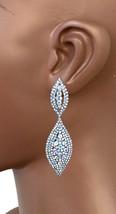 "2.5"" Long Dainty Clip On Earring Aurora Borealis Rhinestones Bridal, Pageant - $14.11"