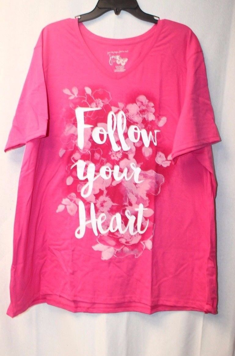 NEW WOMENS PLUS SIZE 4X 26W 28W BRIGHT PINK FOLLOW YOUR HEART FLORAL SHIRT TOP