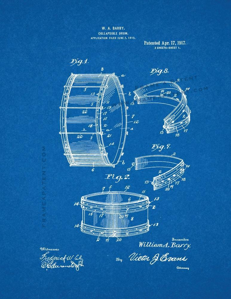 Primary image for Collapsible Drum Patent Print - Blueprint