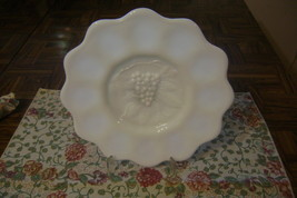 """Vintage 8.25"""" Grapevine Milk Glass Plate with Scalloped Edge & Round Bas... - $8.37"""