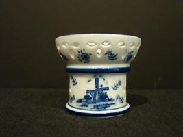 Delft Small Votive Candle Holder Ceramic Holland Windmills - $4.29