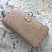 NWT Coach Croc-Embossed Leather Acc Zip Around Wallet F52654 Nude $275 - $148.49