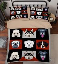 3D Dogs Pattern Bed Pillowcases Quilt Duvet Cover Set Single Queen King Size AU - $90.04+