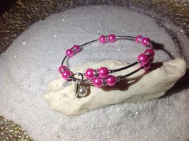 Nice  Handmade! *Hot Pink* Pearl Bead Wire Wrap Silver Bracelet Bangle - $10.95