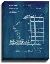 Fire Truck with Ladder Patent Print Midnight Blue on Canvas - $39.95+