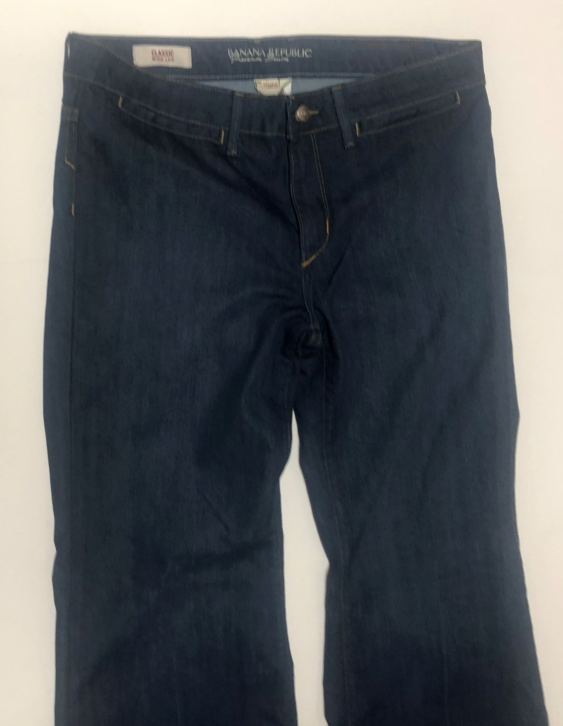 Banana Republic Classic Jeans Sz 10P Stretch Medium Blue Wide Leg image 3