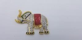Vintage Gold Tone, Rhinestone & Multi Color Enamel Elephant Pin / Brooch... - $25.14