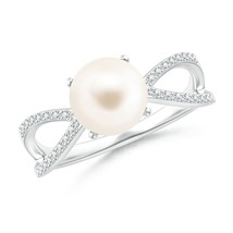 8mm Freshwater Cultured Pearl and Diamond Split Shank Ring Silver/Gold S... - $413.66+