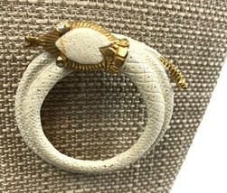Vintage Coiled Snake Brooch Pin White Enameled Rhinestone Eyes serpent c... - $16.82