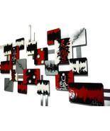 Crimson Square Wall Sculpture Unique Red Black Modern Abstract Wall Deco... - $549.99