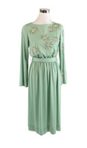 Light green DONCASTER long sleeve stretch rhinestone trim vintage dress 10 - $50.00
