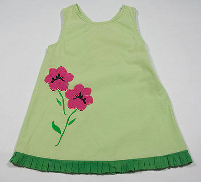 SIMPLY BASIC GIRLS 24M DRESS GREEN POPPIES FLORAL POPPY FLOWERS PLEATED RUFFLE