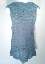 Tommy Bahama XL Pearl Sheen Crochet Top Cowl Neck Splash Blue Size 16 TW... - $31.68