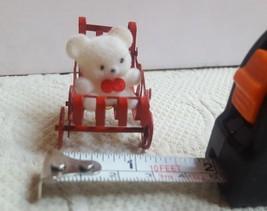 FUZZY BEAR IN METAL BABY CAR ORNAMENT Christmas Xmas tree holiday decora... - $14.11