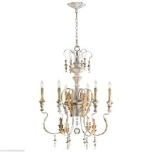 Horchow French Vintage Cottage Gold & White Chandelier with Crystal - $447.00