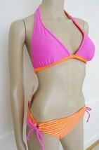 Nwt Hula Honey 2PC Halter Bikini Swimsuit Sz  M Medium Orange Pink Strip... - $27.67