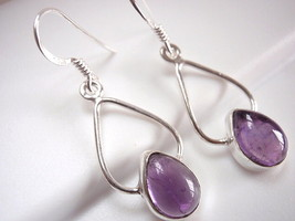 Amethyst Dewdrop Earrings 925 Sterling Silver Dangle Drop Hoop New - $12.86
