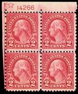 579,  Mint NH RARE 2¢ Plate Block of Four Stamps - Cat $1,100.00 - Stuar... - $350.00