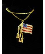 Rhinestone Flag necklace brooch Patriotic USA Blue Vintage Red White Gol... - £52.35 GBP