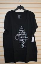New Torrid Womens Plus Size 3 X 3 Black It Looks Like Cocktails T Tee Shirt Top - $25.15