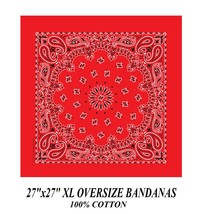 "XL BIG SUPER OVER SIZE RED PAISLEY 27"" Bandanna Cotton BANDANA Head Wrap... - $11.99"