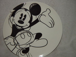 Disney Mickey Mouse Black And White Plastic Plate - $17.50