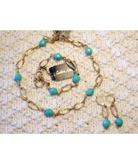 Cookie Lee Turquoise Bead & Double Link Chain Set - New, Nice! - $20.00