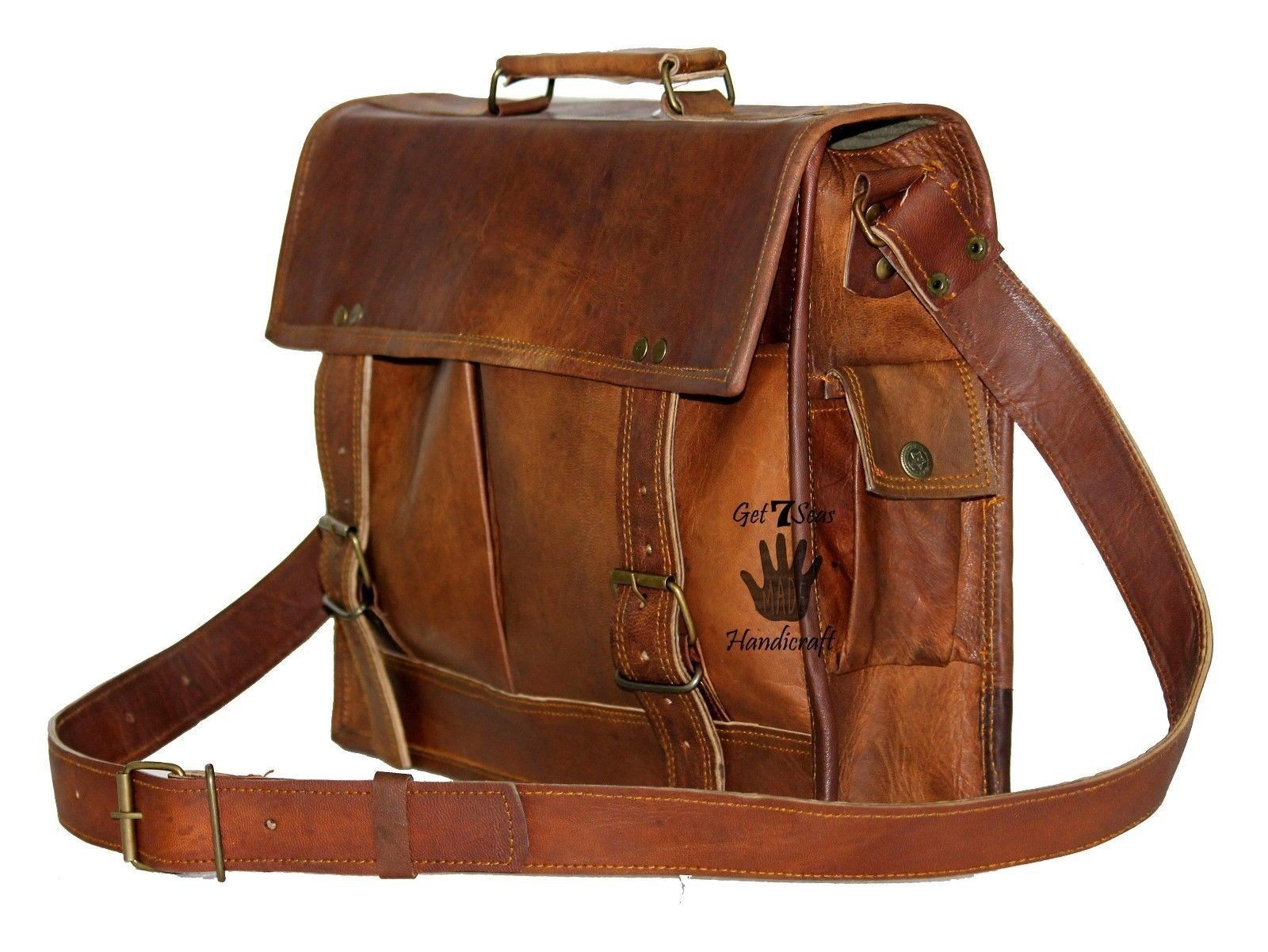 """15"""" Mens Satchel Brown Leather Messenger Bag Laptop Shoulder Crossbody Briefcase"""