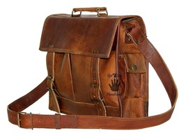 "15"" Mens Satchel Brown Leather Messenger Bag Laptop Shoulder Crossbody B... - $48.80"