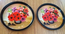 VINTAGE 2 ROUND TIN METAL TRAYS PLATTERS~FLORAL FLOWERS HORSE PATTERN~  - $7.60