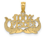14K Yellow Gold 100% Pisces Charm (Length=13.1) (Width=17.85) [D4065]