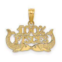 14K Yellow Gold 100% Pisces Charm (Length=13.1) (Width=17.85) [D4065] - $58.50