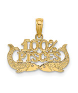 14K Yellow Gold 100% Pisces Charm (Length=13.1) (Width=17.85) [D4065] - $77.55 CAD