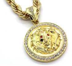 """Mens 14k Gold Plated 30""""  Rope Chain Lion Face Red  Eyes Pendant Necklace - $29.69"""