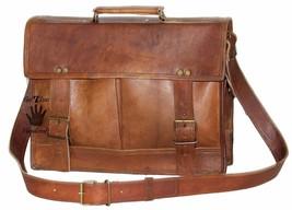 """15"""" Mens Satchel Brown Leather Messenger Bag Laptop Shoulder Crossbody Briefcase image 3"""