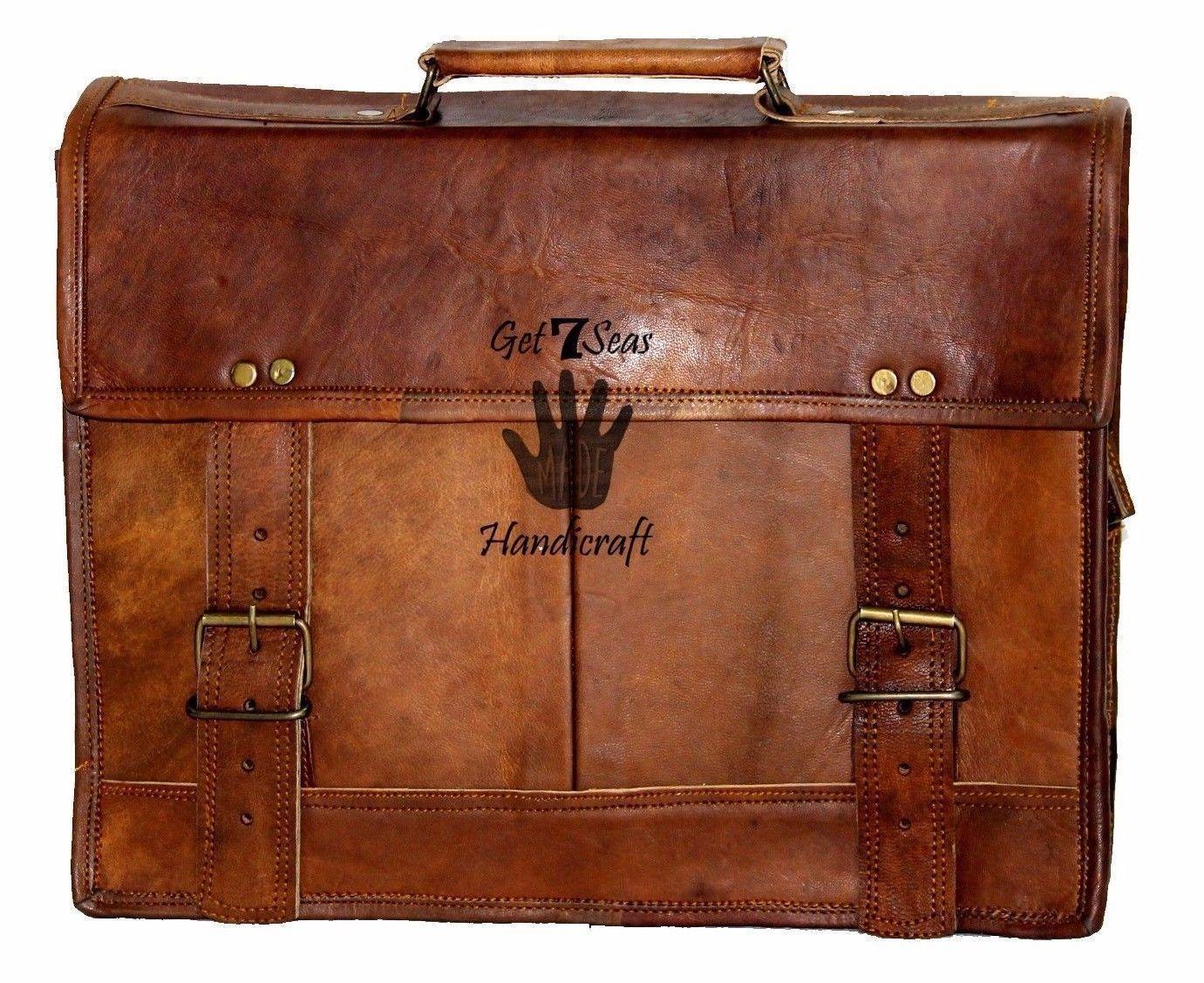 """15"""" Mens Satchel Brown Leather Messenger Bag Laptop Shoulder Crossbody Briefcase image 2"""