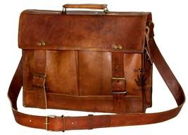 """15"""" Mens Satchel Brown Leather Messenger Bag Laptop Shoulder Crossbody Briefcase image 4"""